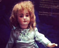 Edison's Talking Doll, as seen at the Thomas Edison National Historical Park. This one sings Twinkle, Twinkle Little Star. Photo by Marc Hartzman.