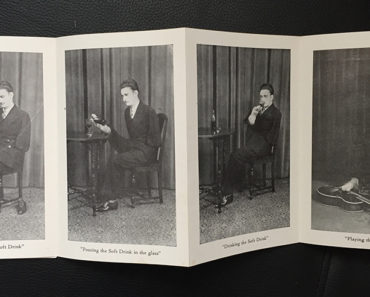 Ray Myers, seen performing various everyday tasks in a souvenir folder.