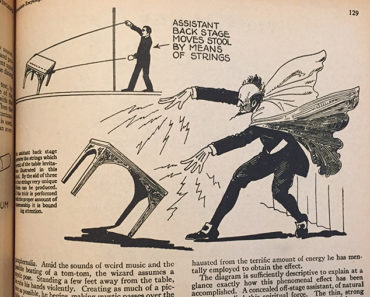 How magicians levitate a table, from Dunninger's Complete Encyclopedia of Magic (1963)