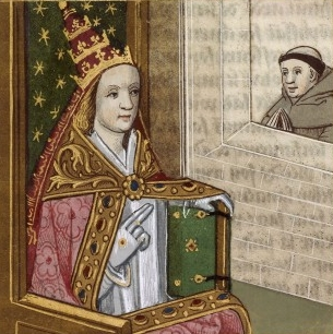 Illustrated manuscript depicting Pope Joan with the papal crown. Bibliothéque national de France, circa 1560. Artist unknown. Public domain.