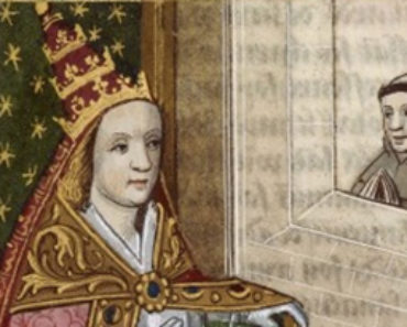 Illustrated manuscript depicting the female pope, Pope Joan, with the papal crown. Bibliothéque national de France, circa 1560. Artist unknown. Public domain.
