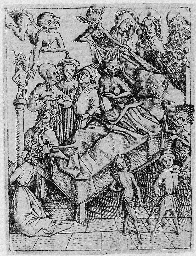 Sin-eaters: Ars moriendi (The Art of Dying), circa 1460 Netherlands. Artist unknown. Woodblock.