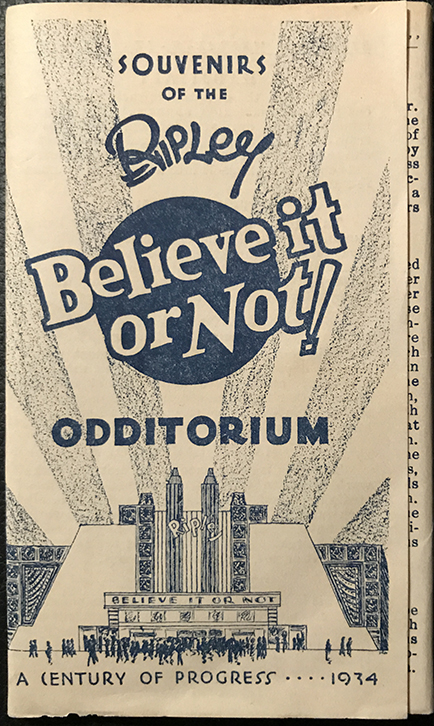 1934 Ripley's Odditorium souvenir pamphlet with postcards. From the Marc Hartzman collection.