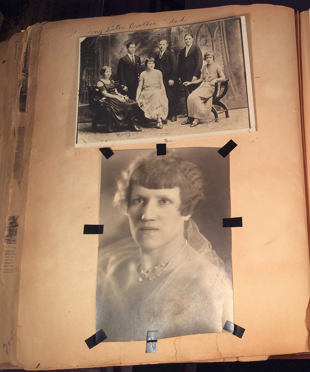 At the top, a photo featuring Agnes Schwarzenbacher with her father and siblings: Mary, John, Rose, and Carl. Below is a portrait of Agnes dated 1926. Photo courtesy of Dori Ann Bischmann, PhD