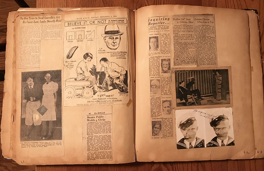 """In addition to clippings of newspaper articles about Agnes the Rubber Skin Lady, this spread features: a Believe It Or Not cartoon starring Agnes's friends, Lillie and Harry McGregor, who could pull each other in a wagon with their eyelids; an article about Martin Laurello, known as the Human Owl, for his ability to turn his head 180 degrees; a piece about performers with microcephaly billed as """"The World's Strangest Twins""""; a clipping from The Billboard about the marriage of two """"popular midgets"""" from the James E. Strates Shows carnival; a photo of armless knife thrower Paul Desmuke; and a signed photo of Popeye impersonator, Mike Butch. Photo courtesy of Dori Ann Bischmann, PhD"""