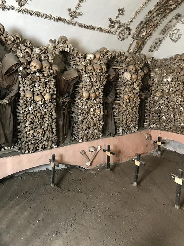 Capuchin friars in the crypt at the Church of Santa Maria della Concezione.