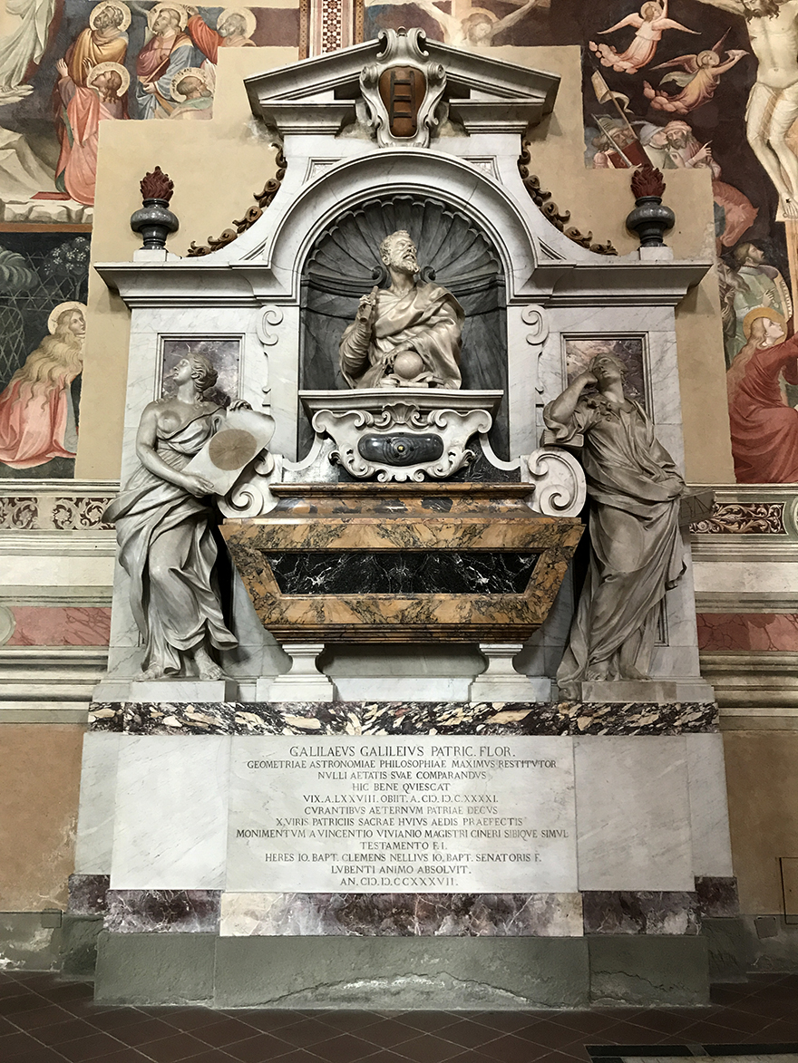 Galileo's mausoleum in the Church of Santa Croce in Florence. Photo by Marc Hartzman.