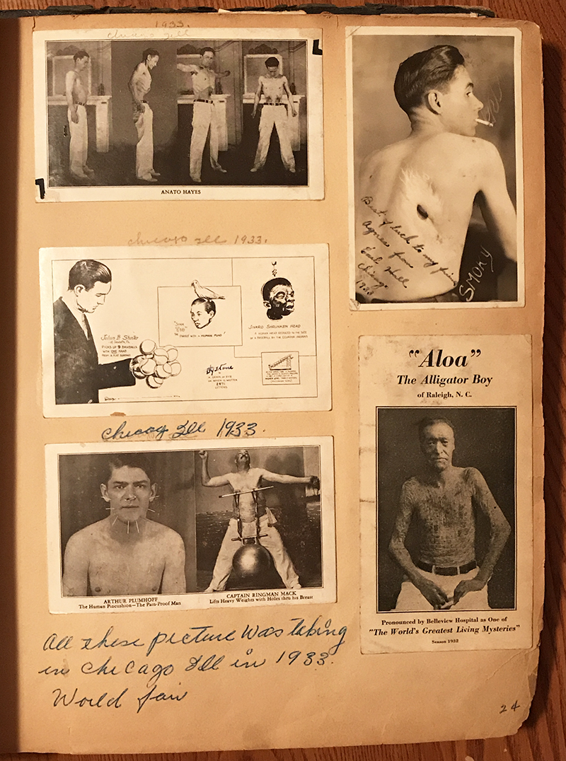 """A collection of performers from the 1933 World's Fair: Anato Hayes, The Anatomical Wonder; Earl """"Smoky"""" Hall, who could inhale a cigarette and exhale the smoke through his skin; a Ripley's cartoon; a souvenir postcard with The Human Pincushion, Arthur Plumhoff, and Captain Ringman Mack, who lifted weights with his pierced nipples; and William Parnell, known as """"Aloa"""" the Alligator Boy, due to a condition called ichthyosis. Photo courtesy of Dori Ann Bischmann, PhD"""