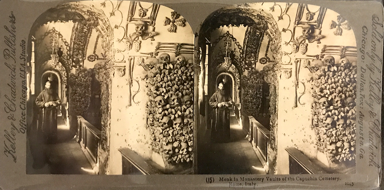 Stereoview of the Capuchin crypt with monk. Hartzman Collection.
