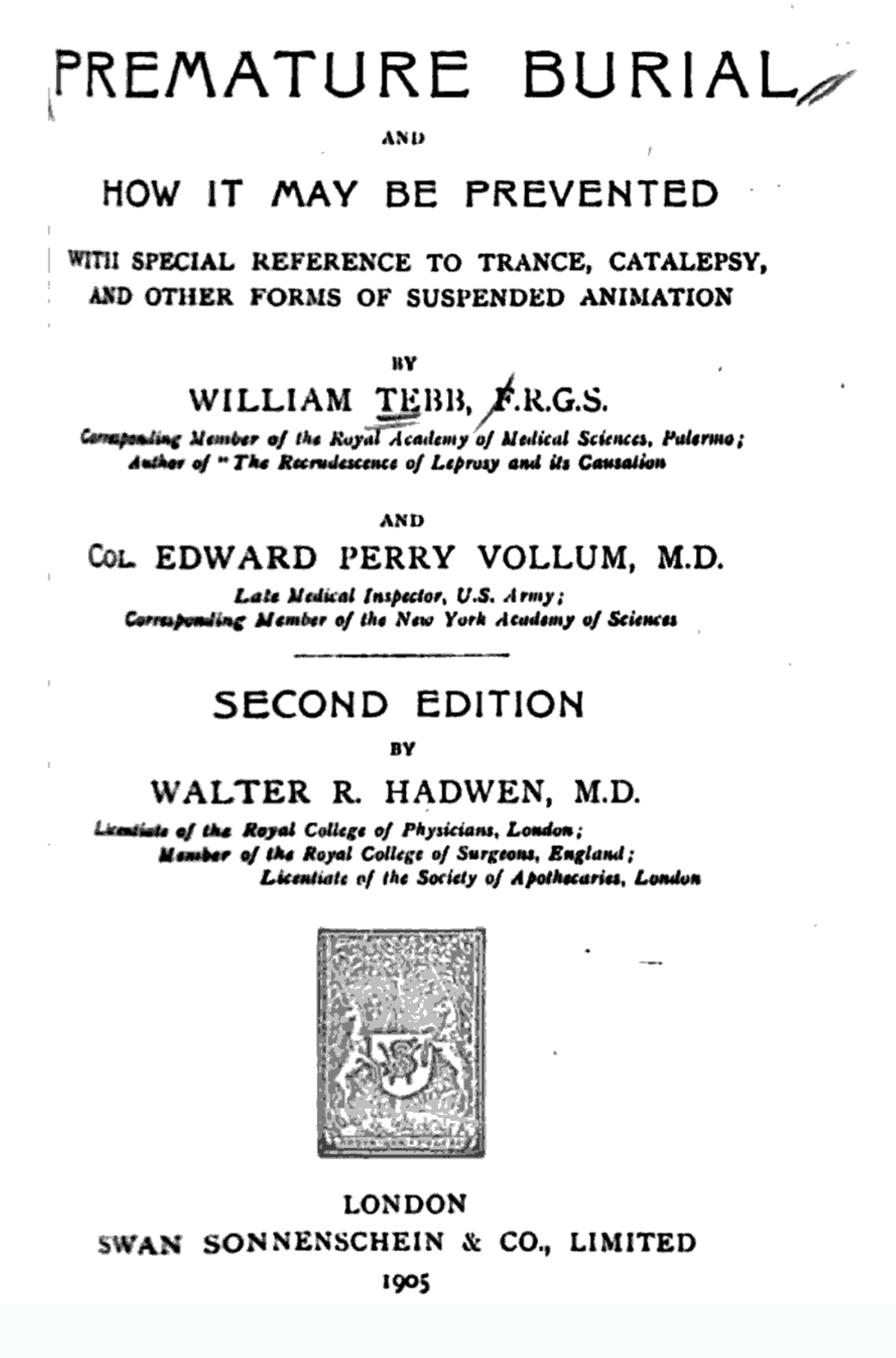 Premature Burial title page from the second edition, 1905.