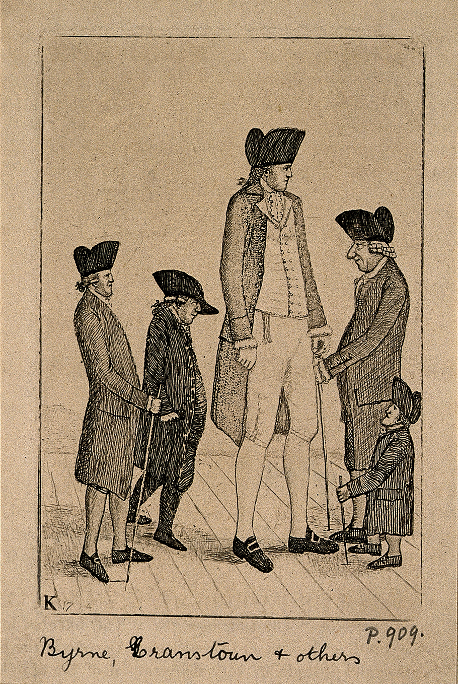 Charles Byrne, the Irish Giant, George Cranstoun, a dwarf, and three other normal sized men. Etching by J. Kay, 1794. This file comes from Wellcome Images, a website operated by Wellcome Trust, a global charitable foundation based in the United Kingdom.