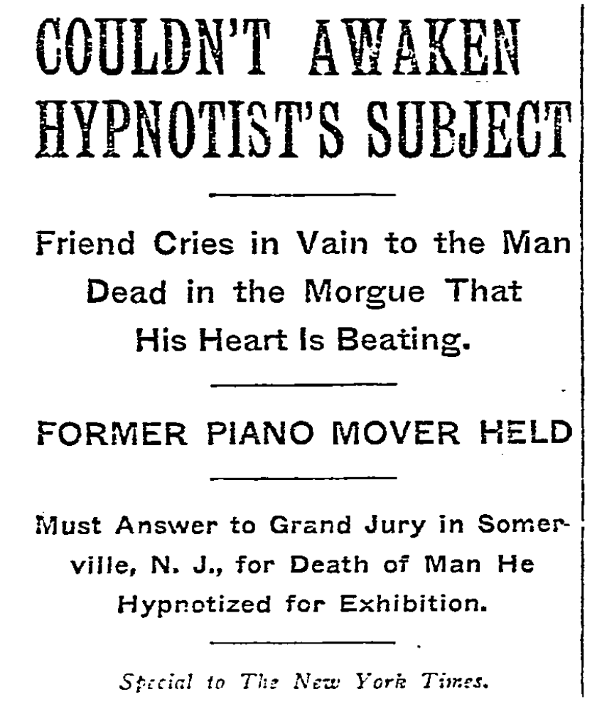 New York Times headline from November 10, 1909.