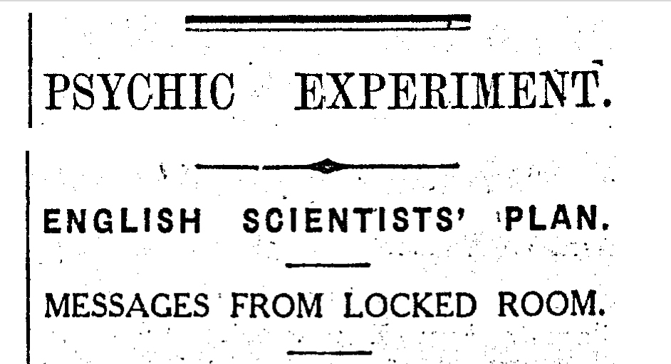 Telepathy experiment headline from the New Zealand Herald, January 25, 1927.