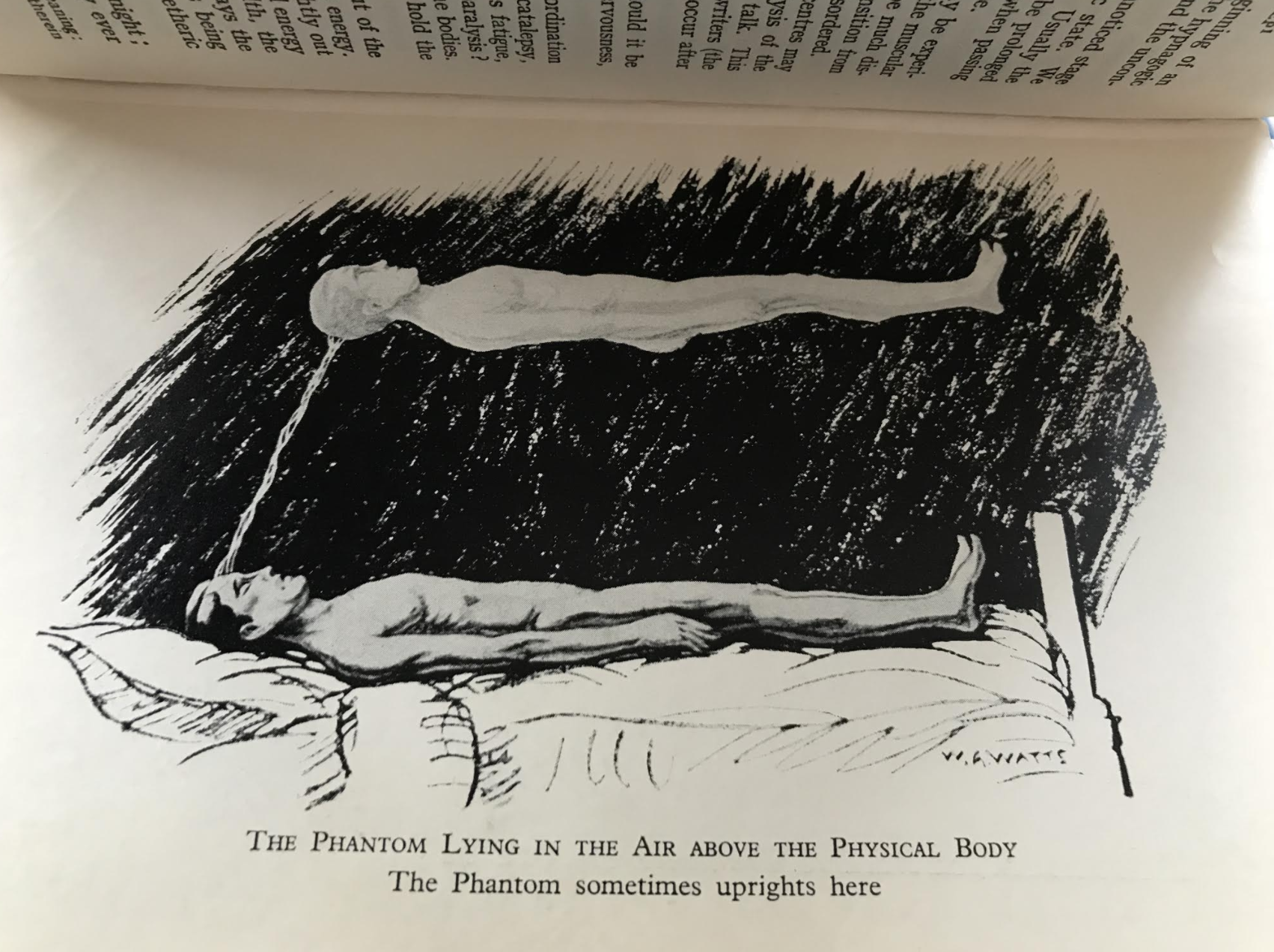Astral Projection begins. From The Projection of the Astral Body, by Hereward Carrington and Sylvan Muldoon (1929).
