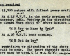1928 transmission agenda to Martians. Courtesy of BT Heritage & Archives.