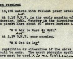 1928 transmission agenda to Martians. Courtesy of BT Heritage & Archives.