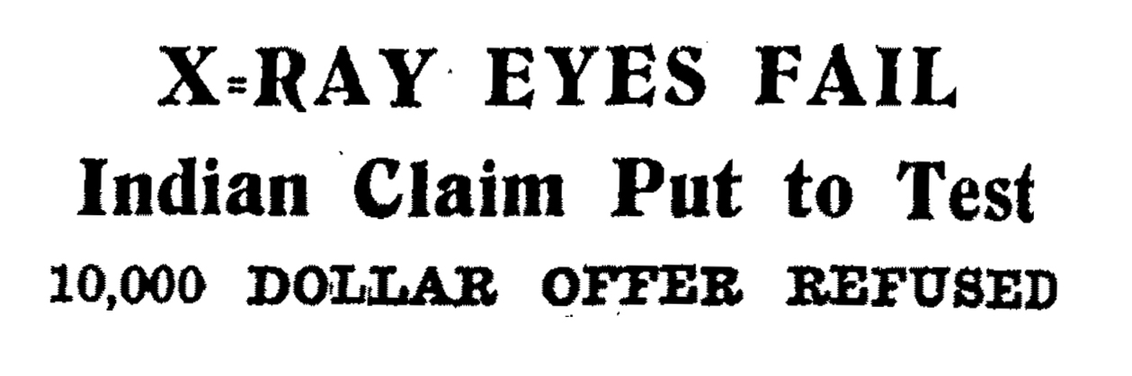 X-ray eyes headline from the Rodney and Otamatea Times, Sept. 14, 1938.