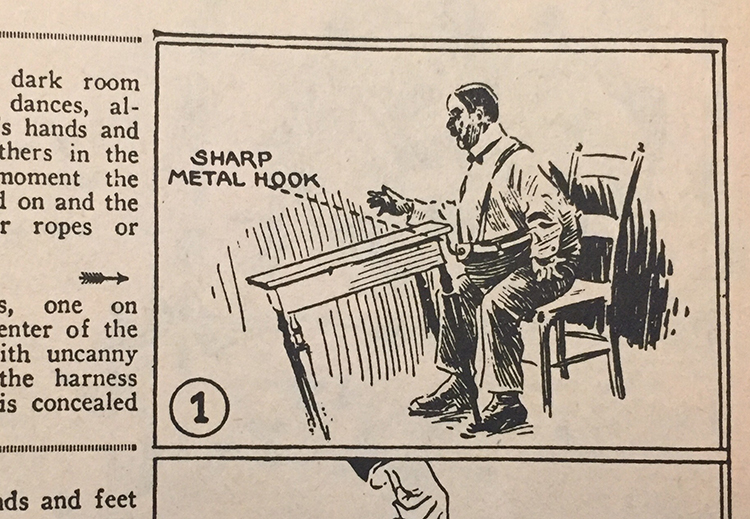 Using a harness to tip a table, from Dunninger's Complete Encyclopedia of Magic (1963)